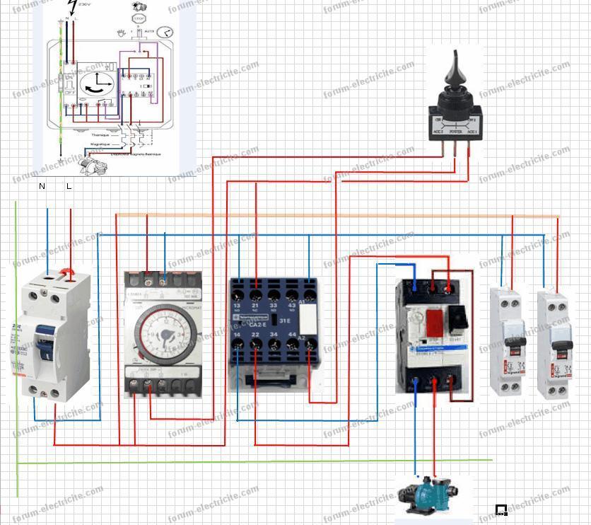 Forum lectricit r alisation c blage coffret filtration for Branchement filtration piscine