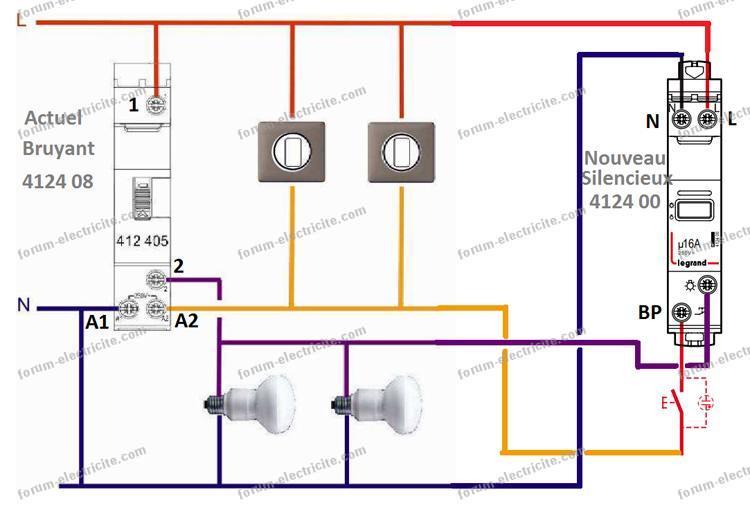 Remplacer télérupteur Legrand schéma