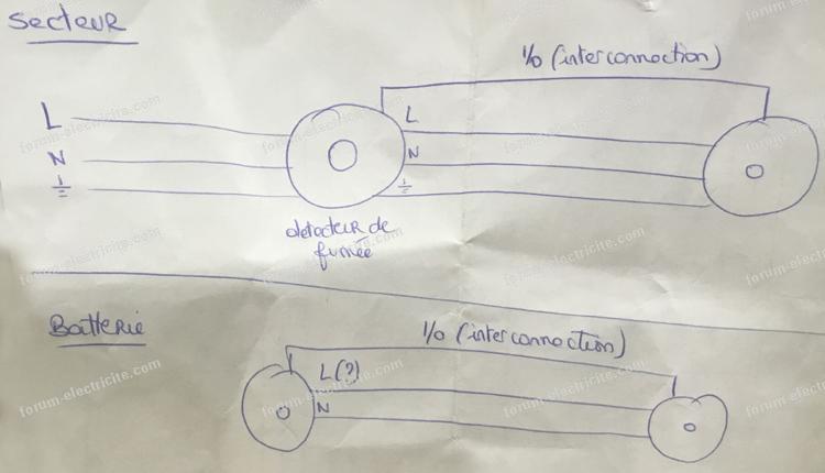 schéma branchement lampes détecteur de fumée