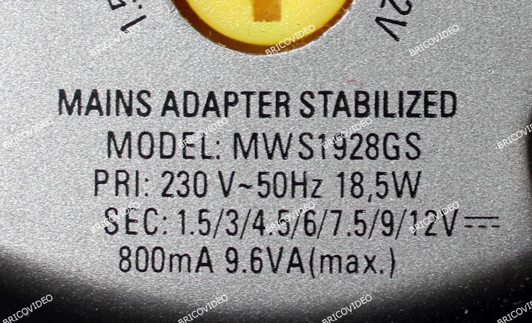 adaptateur secteur 800mA