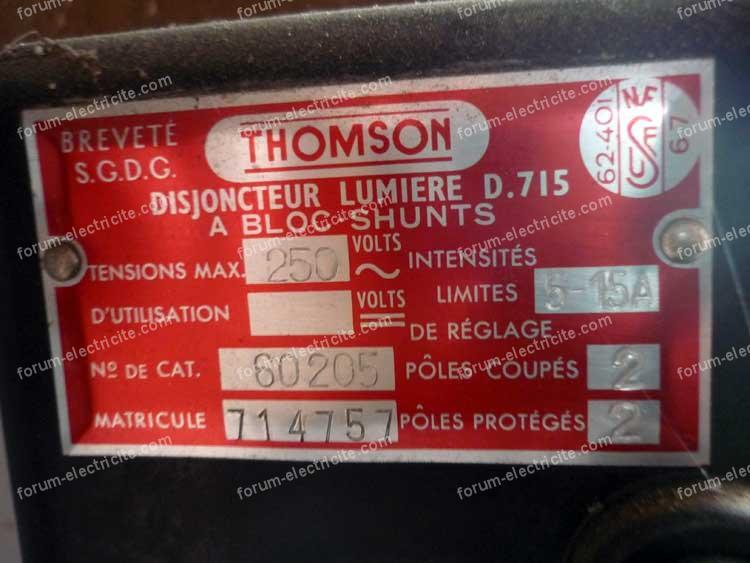 ancien disjoncteur de branchement Thomson