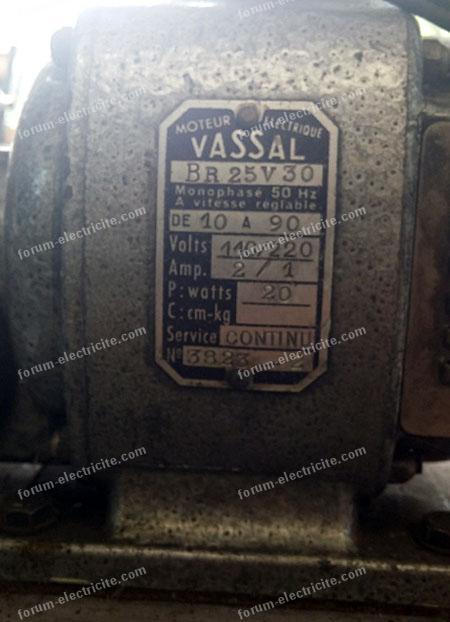 branchement ancien moteur électrique vassal