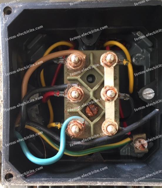 branchement moteur triphasé de broyeur