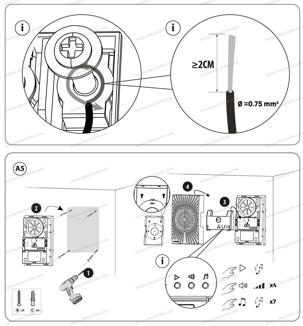 branchement carillon filaire Lexmann D20