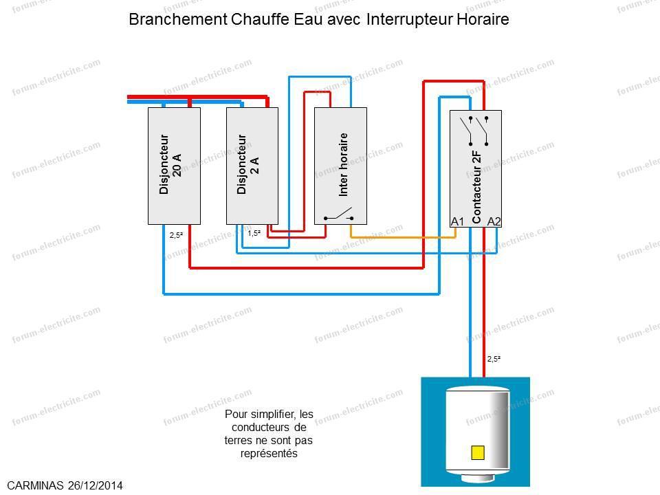 schéma branchement chauffe eau avec interrupteur horaire