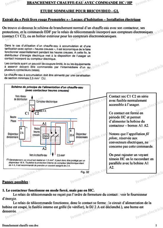 schéma branchement chauffe eau HC HP