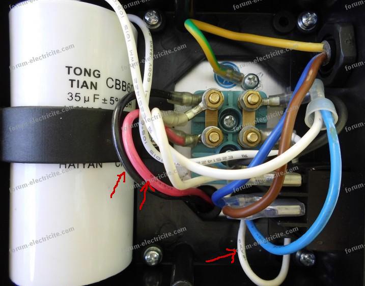 branchement condensateur compresseur