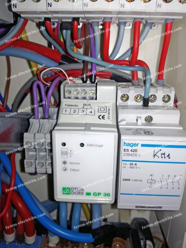 branchement contacteur chauffage Hager Es420