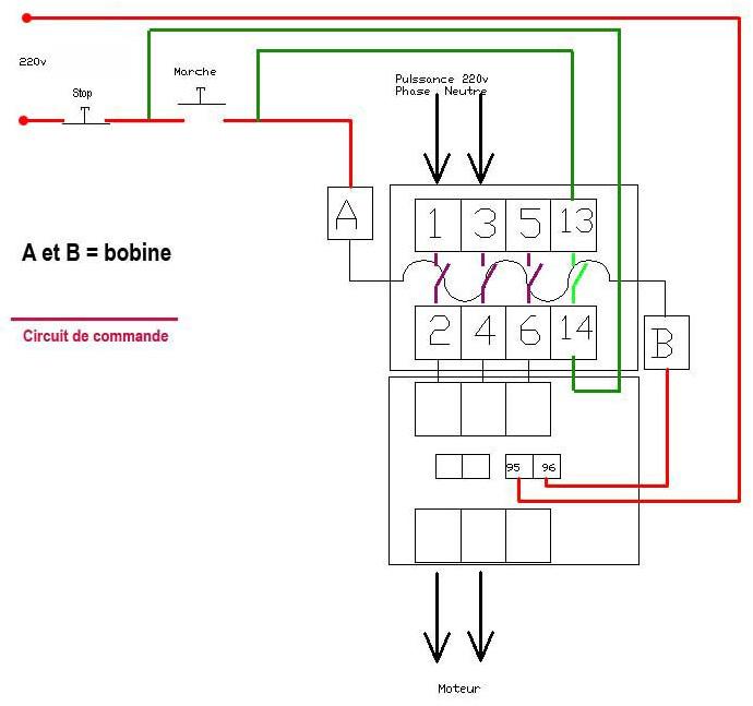 branchement contacteur relais thermique