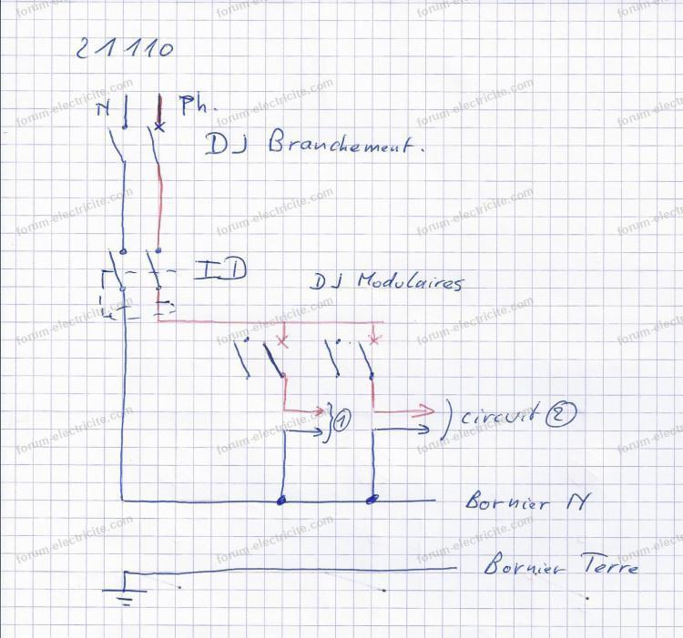branchement disjoncteur modulaire