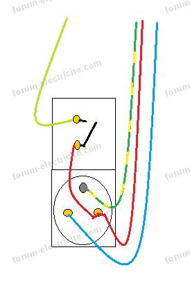 schéma branchement inter et prise