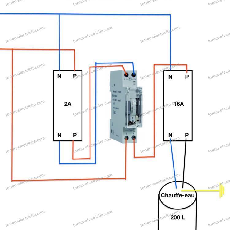 schéma branchement inter horaire Legrand microRex QT11