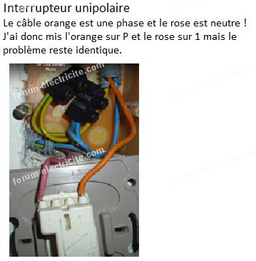 branchement interrupteur unipolaire