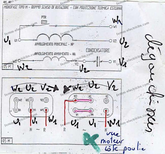 schema raccordement moteur triphas u00e9 monophas u00e9