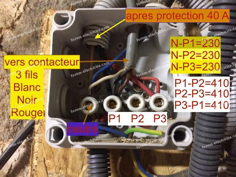 branchement pompe immergée 400V