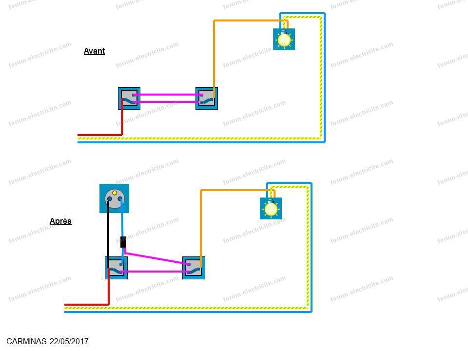 Forum lectricit installer une prise depuis un interrupteur va et vient le - Installation interrupteur va et vient ...