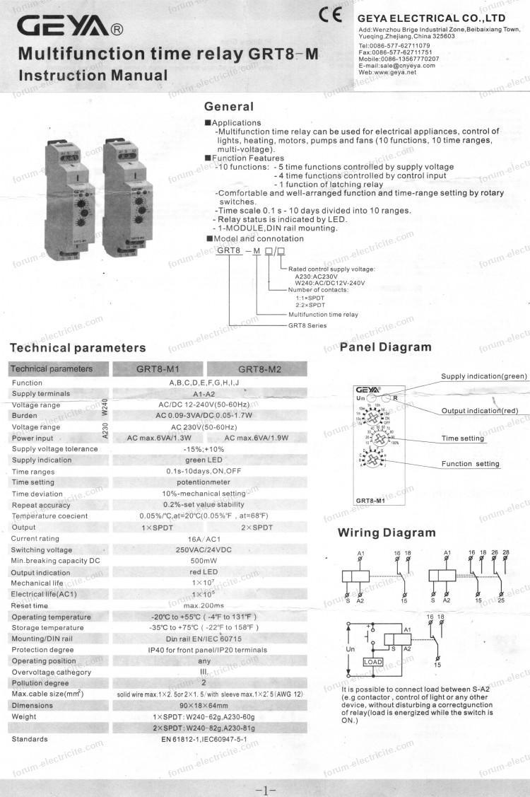branchements relais temporisation