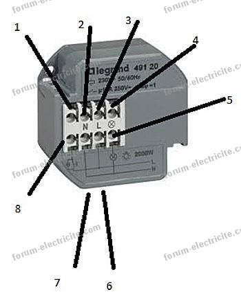 Branchement télérupteur Legrand 49120