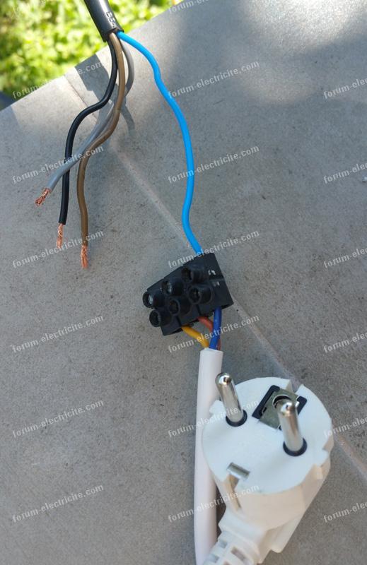 branchement tondeuse électrique