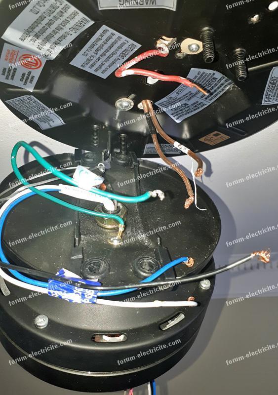 branchement ventilateur plafonnieravec lumiere