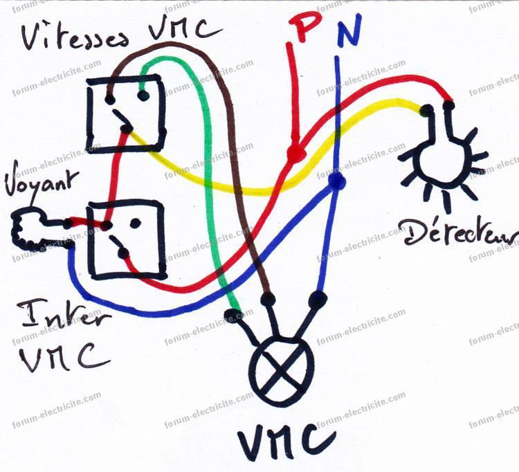 schéma branchement VMC détecteur de présence