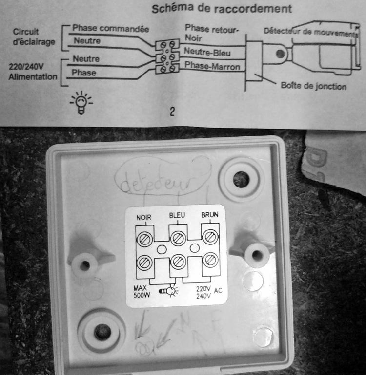 Branchement d un halog ne avec d tection un interrupteur pictures to pin on pinterest - Branchement d un detecteur de mouvement ...