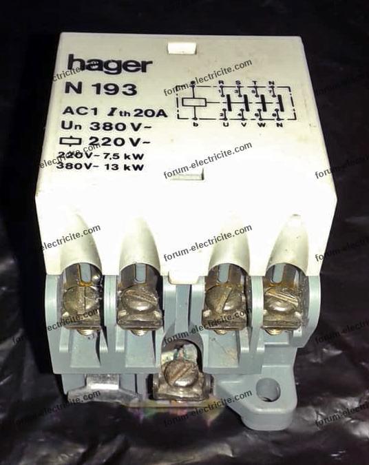contacteur tétrapolaire Hager N 193