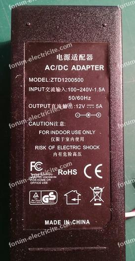 dépannage adaptateur AC/DC
