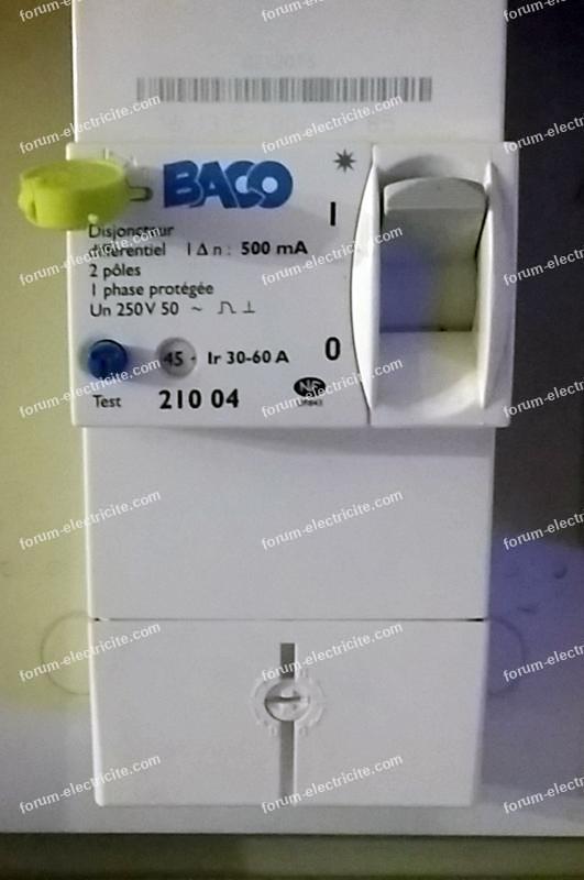disjoncteur différentiel Baco 500mA