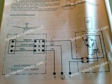schéma branchement commande ventilateur plafond