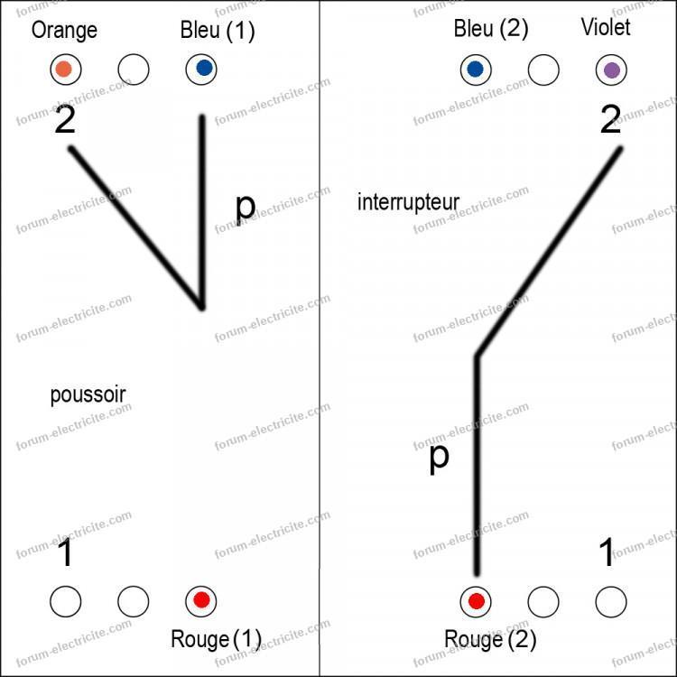 schéma relevé ancien interrupteur poussoir