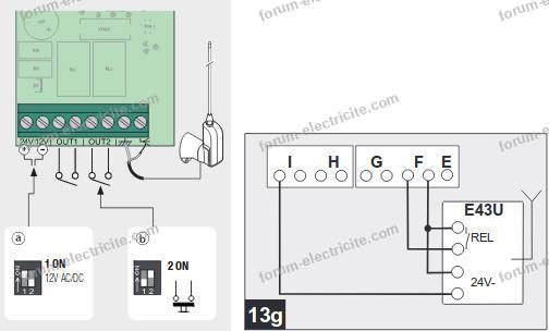 schéma câblage Came RE432M sur Novomatic 413