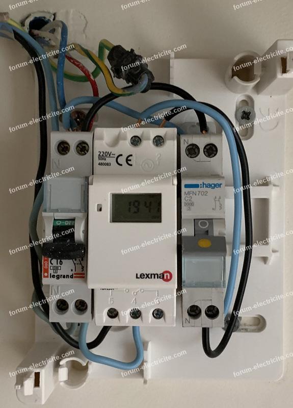 câblage horloge programmable Lexman 16A