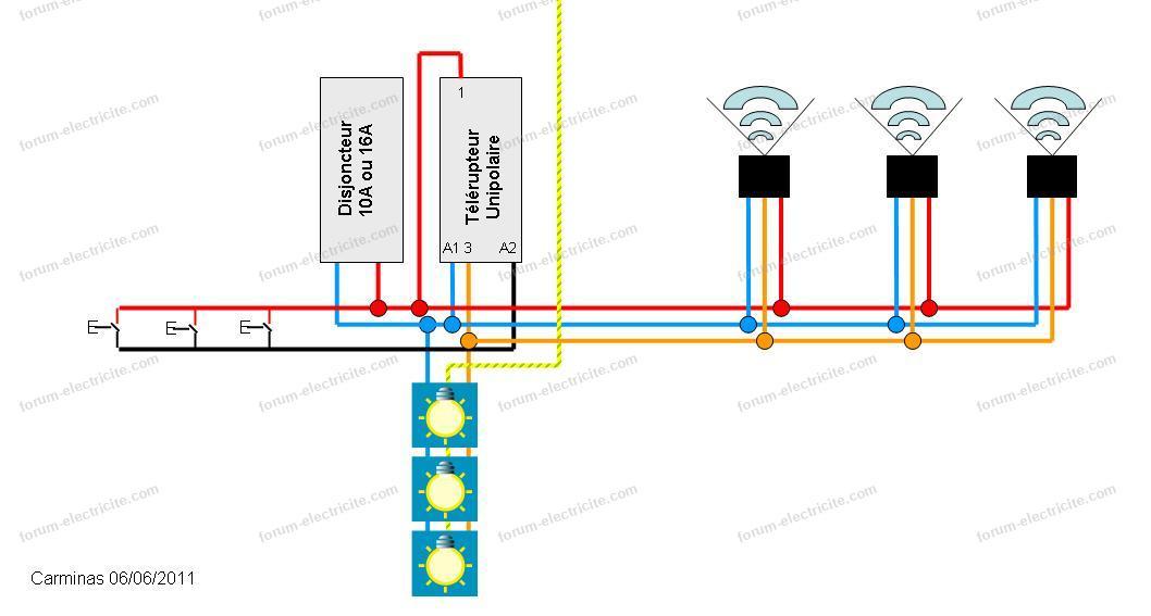 câblage luminaire détecteur