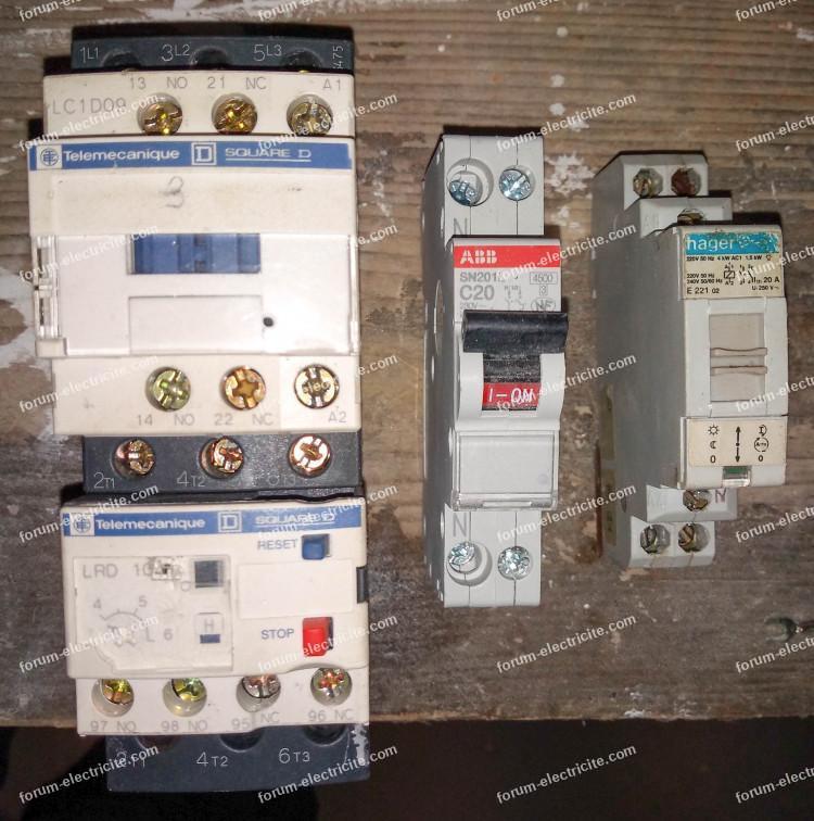 câblage pompe contacteur et relais