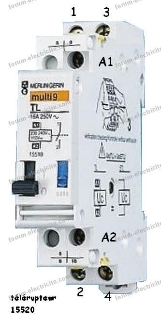 câblage télérupteur Merlin Gerin Multi 9