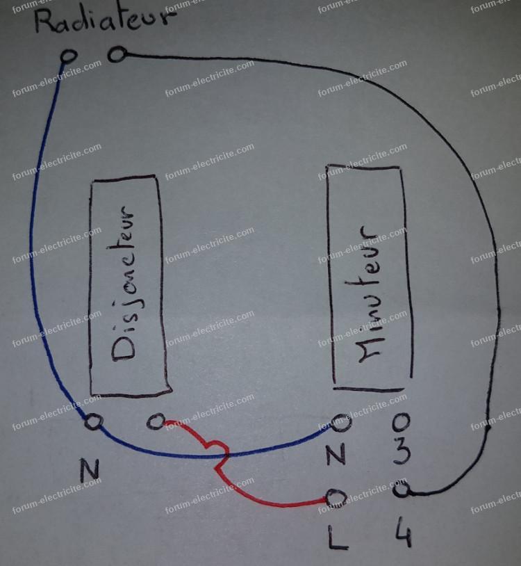 schéma câblage télérupteur minuteur Hager 236426