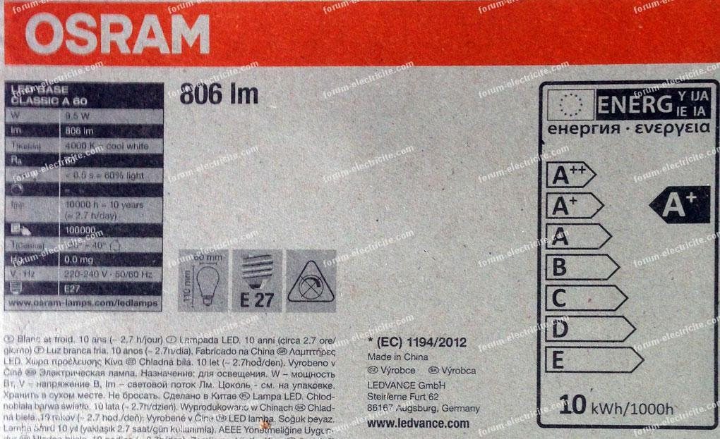 ampoules LED Osram caractéristique