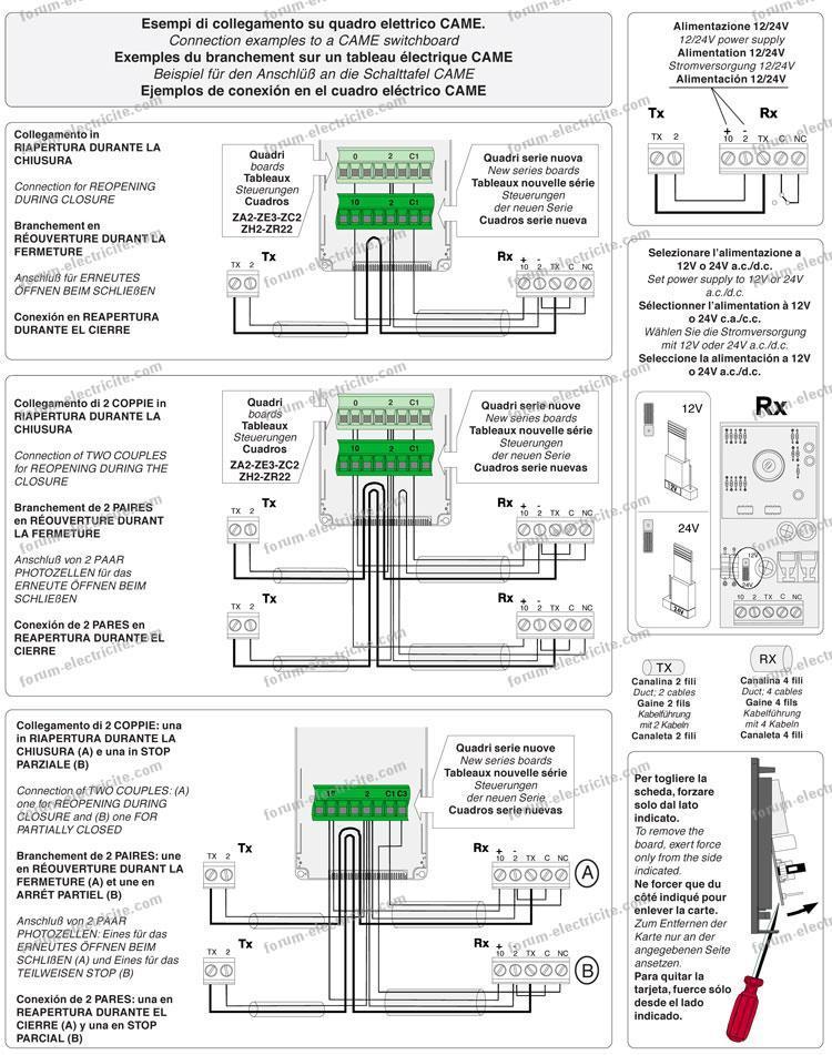 Forum lectricit probl me branchement cellule came for Came fotocellule dir