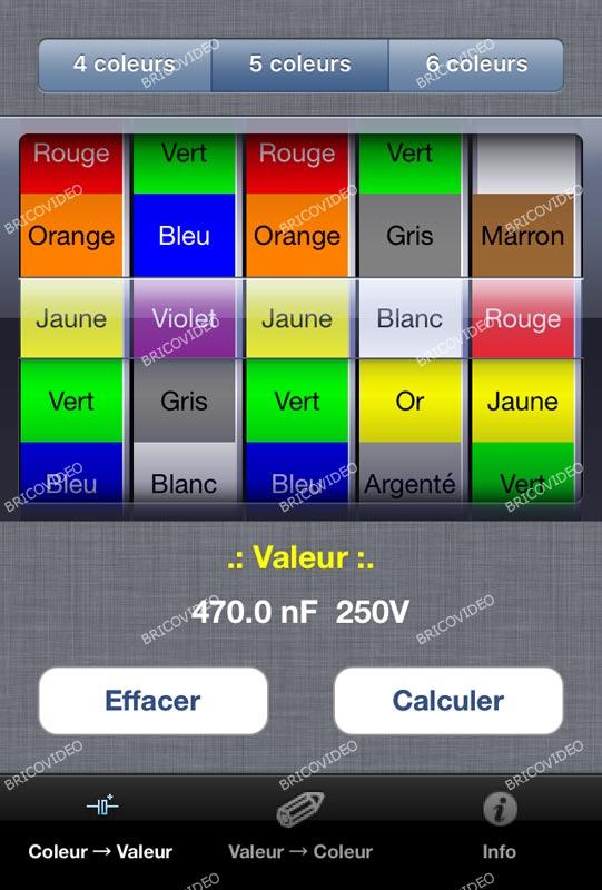 application code couleur des condensateurs