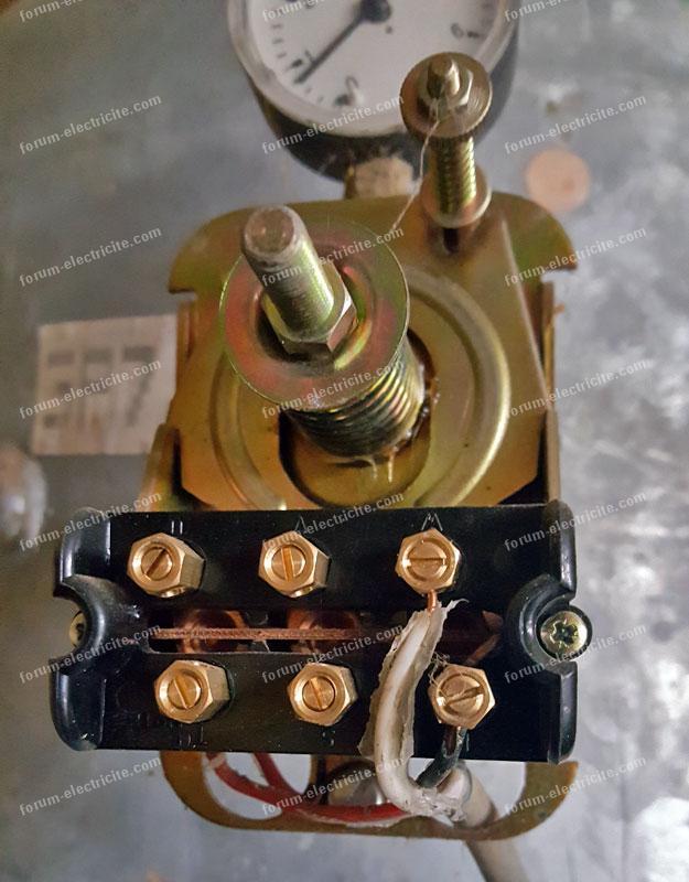 bornier raccordement contacteur manométrique