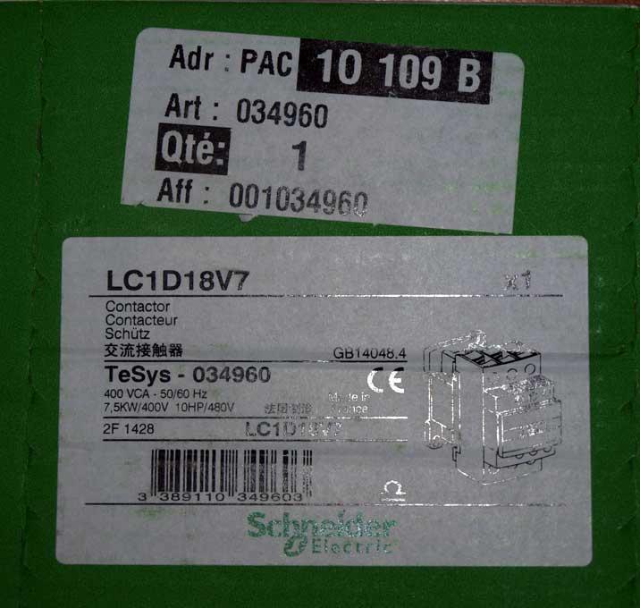 contacteur Schneider LC1D18V7