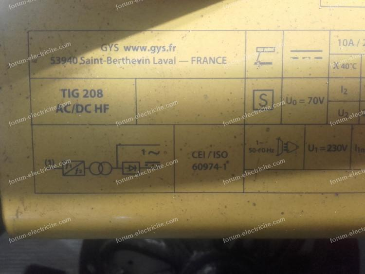 dépannage poste à souder TIG GYS 208