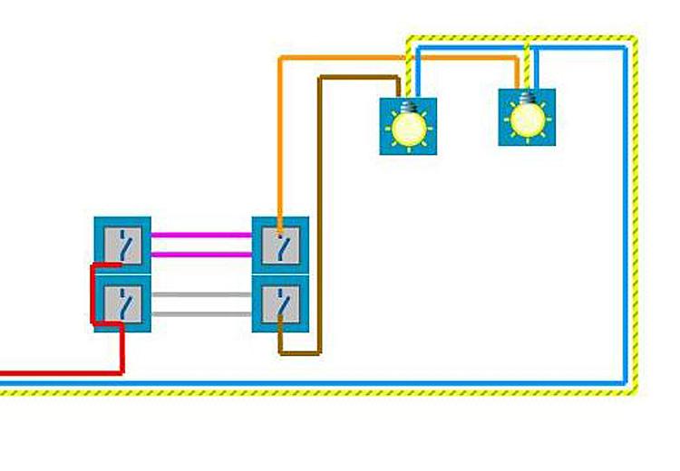 Brancher 2 doubles interrupteurs va et vient questions - Brancher va et vient ...