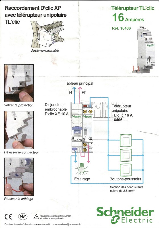 Schema de branchement telerupteur schneider