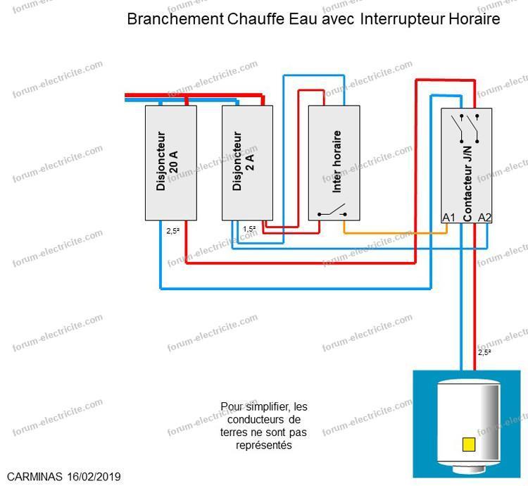 schéma installation horloge programmable chauffe-eau