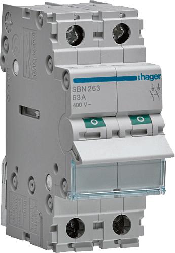 interrupteur sectionneur 2P 63A SBN263 Hager