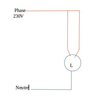branchement lampe avec 2 phases