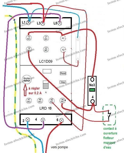 schéma branchement lc1d09 pour pompe 230 v