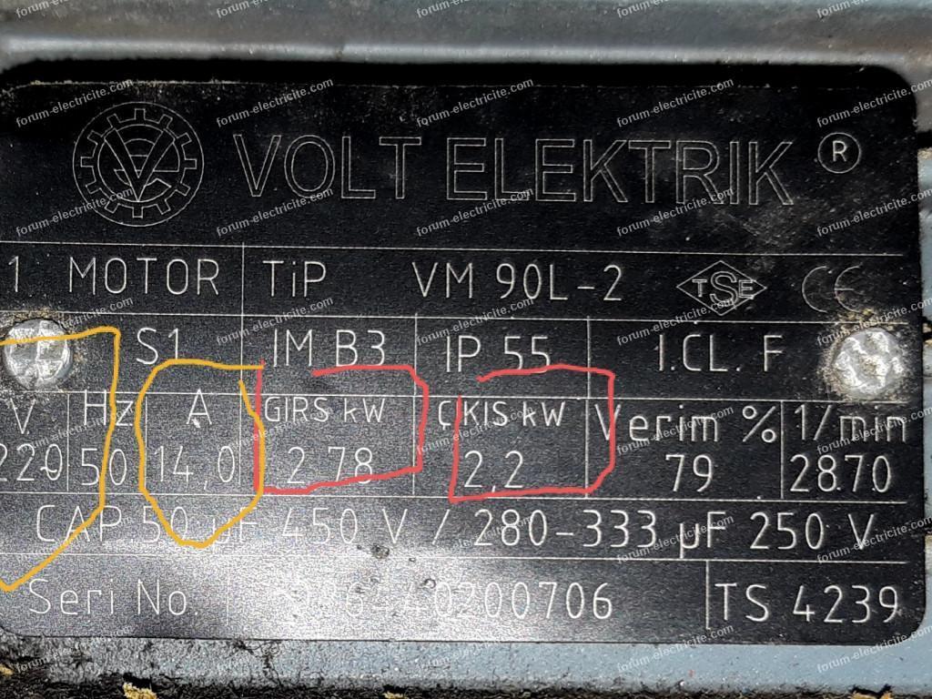 lecture plaque signalétique moteur électrique